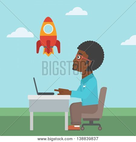 An african-american businessman sitting at the table and looking at a flying rocket. Businessman working on a laptop. Business start up concept. Vector flat design illustration. Square layout.