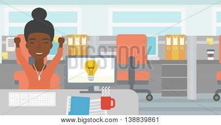 An african business woman with arms up having business idea. Woman working on a computer with business idea bulb on a screen. Business idea concept. Vector flat design illustration. Horizontal layout.