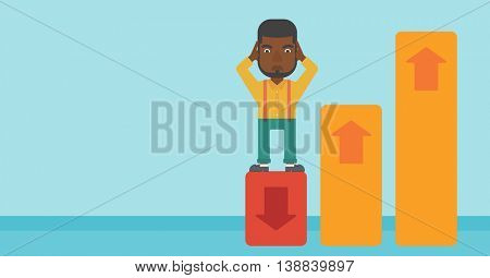 An african-american bankrupt clutching his head. Bankrupt standing on chart going down. Concept of business bankruptcy. Vector flat design illustration. Horizontal layout.