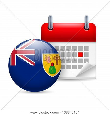 Calendar and round flag icon. National holiday on Turks and Caicos Islands