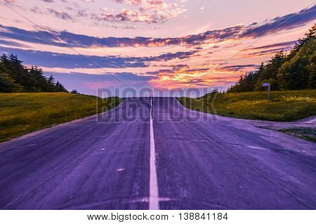 Road to sunset time beautiful landscape nature