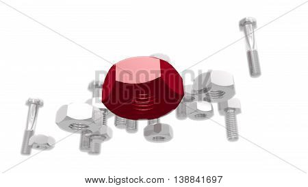 Silver nuts and bolt kit. Service and repair relative image. Leadership metaphor. 3D rendering