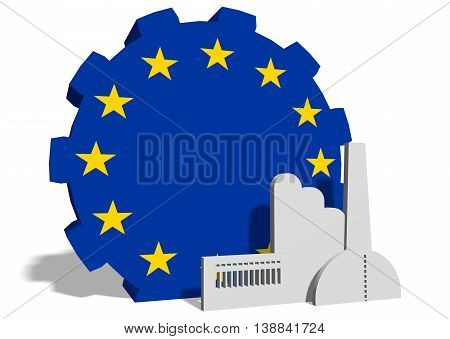 European Union industry relative concept. Factory icon and gear textured by national flag. 3D rendering