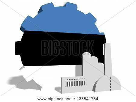 Estonia industry relative concept. Factory icon and gear textured by national flag. 3D rendering