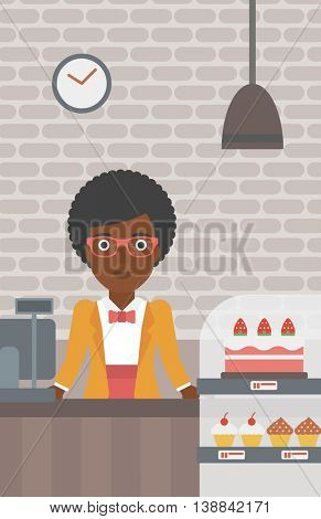 An african-american female bakery worker offering different pastry. A bakery worker standing behind the counter with cakes at the bakery. Vector flat design illustration. Vertical layout.