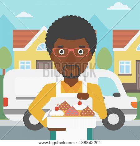 An african-american baker holding a box of cakes. Baker delivering cakes. A baker with cupcakes standing on the background of delivery truck. Vector flat design illustration. Square layout.