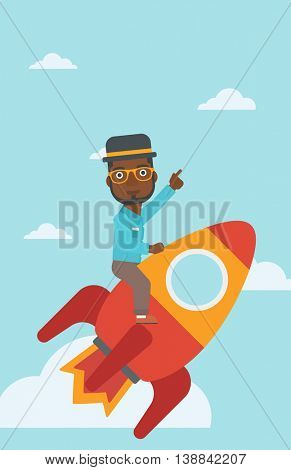 An african-american businessman flying on the business start up rocket and pointing his forefinger up. Successful business start up concept. Vector flat design illustration. Vertical layout.