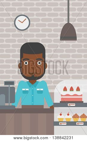 An african-american bakery worker offering different pastry. A bakery worker standing behind the counter with cakes at the bakery. Vector flat design illustration. Vertical layout.