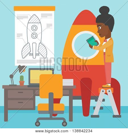 An african-american woman standing on ladder and engeneering a rocket. Woman working on the start up of a new business. Business start up concept. Vector flat design illustration. Square layout.