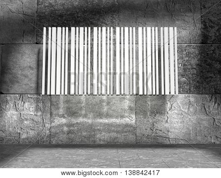 Bar code on concrete wall in empty room. 3D rendering