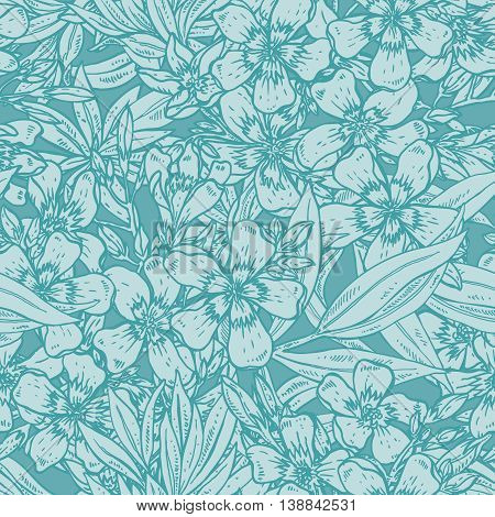 Vector seamless pattern with hand drawn rhododendron flowers. Endless background in emerald color.