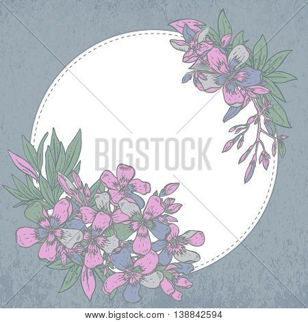 Vector illustration. hand drawn composition of rhododendron flowers on white background. Template for print, invitation card, greeting card.