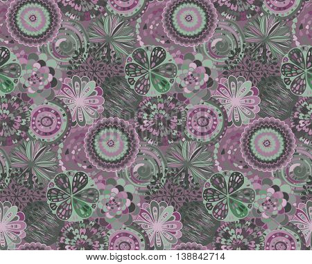 Seamless pattern with hand drawn fancy circle. Soft color beautiful endless background with decorative ethnic elements.