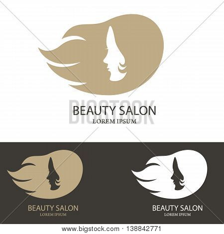 BEAUTY SALON logo template. Abstract girl face with long heirs. Design element for logo label emblem sign badge. Vector illustration.