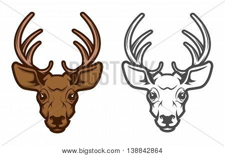 Deer head mascot. Design element for logo label emblem sign badge. Vector illustration.