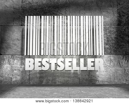 Bestseller word and bar code on concrete wall in empty room. 3D rendering