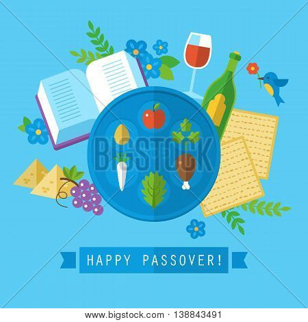 Passover Jewish Holiday Design With Flat Stylish Icons. Isolated Vector Illustration