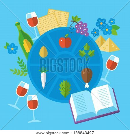 Jewish Holiday Passover Seder Plate With Flat Stylish Icons. Isolated Vector Illustration