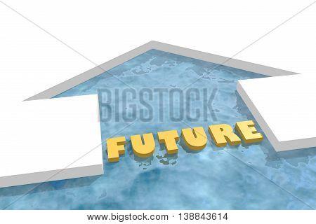 iced arrow in ocean and future word. Way choosing metaphor. 3D rendering