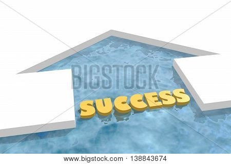 iced arrow in ocean and success word. Way choosing metaphor. 3D rendering