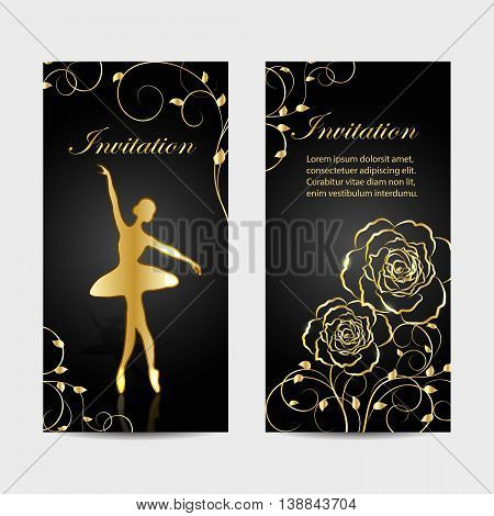 Set of invitation cards design. Beautiful roses and gold ballerina on dark background. Vector illustration.