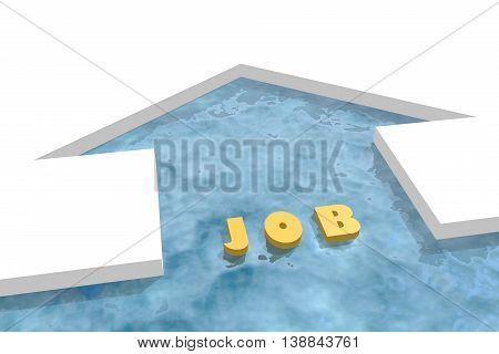 iced arrow in ocean and job word. Way choosing metaphor. 3D rendering