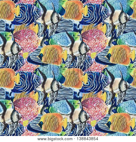 Pattern of colored tropical fish watercolor dense flock