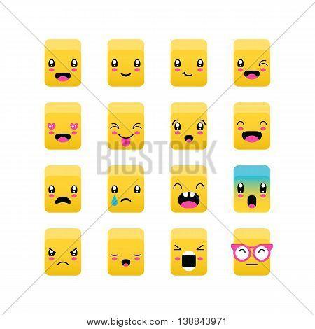 Emoticons, Emoji Square Icon Set. Kawaii Cute Emoticons. Isolated Vector Illustration