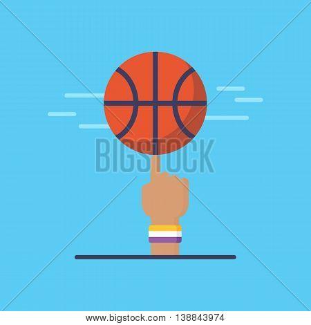 Basketball Emblem And Logo Design. Flat Modern Basketball Icon. Isolated Vector Illustration