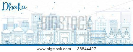 Outline Dhaka Skyline with Blue Buildings. Business Travel and Tourism Concept with Historic Buildings. Image for Presentation Banner Placard and Web Site.