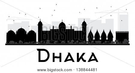 Dhaka City skyline black and white silhouette. Simple flat concept for tourism presentation, banner, placard or web site. Business travel concept. Cityscape with landmarks