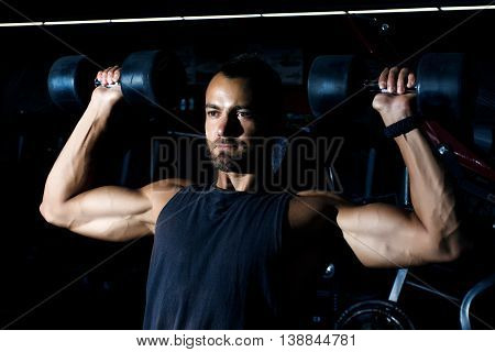 One Caucasian Man Exercising Weight Training Workout Fitness In Gym