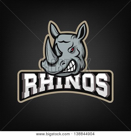 rhinos. sport team emblem. Design element for logo label emblem sign. Vector illustration.