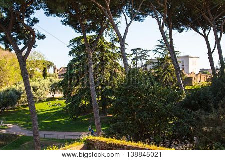 ROME, Palantine Hill. Park of the Domus Augustana on Palatine Hill.