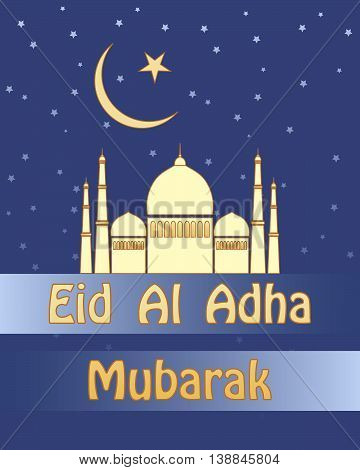 an illustration of an eid al adha festival of sacrifice greeting card with golden mosque and stars on a blue background