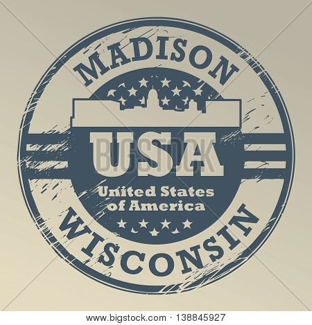 Grunge rubber stamp with name of Wisconsin, Madison, vector illustration