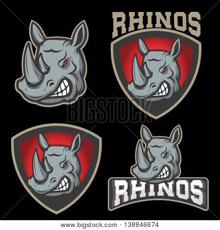 Set of emblems with angry rhino head. Sport team mascot. Design element for logo label emblem sign badge. Vector illustration.