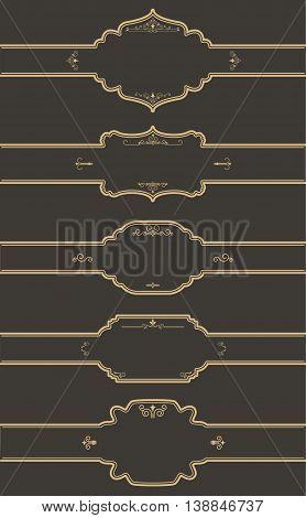 set of the label templates on dark background. Vector design elements.