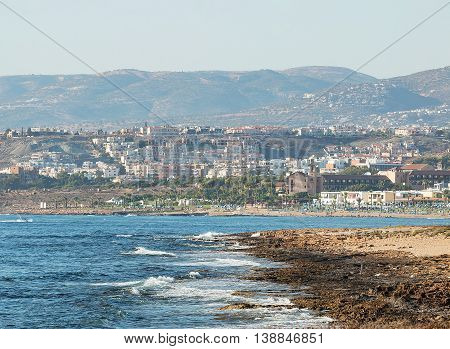 View of beaches and hills in Paphos, Cyprus