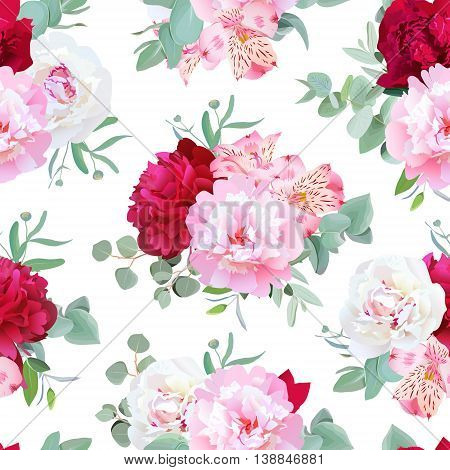 Luxury floral seamless vector print with peony alstroemeria lily mint eucaliptus and ranunculus leaves on white. Pink white and burgundy flowers.