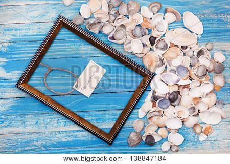Sign Sea Adventure And Photo Frame. Vocation Background
