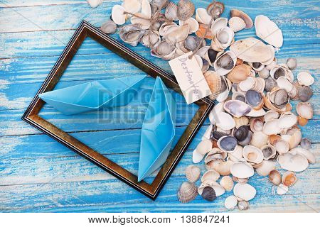 Sign Destination With Shells And Photo Frame. Vocation Background