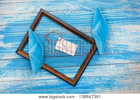 Sign Life Is An Adventure With Photo Frame. Vocation Background