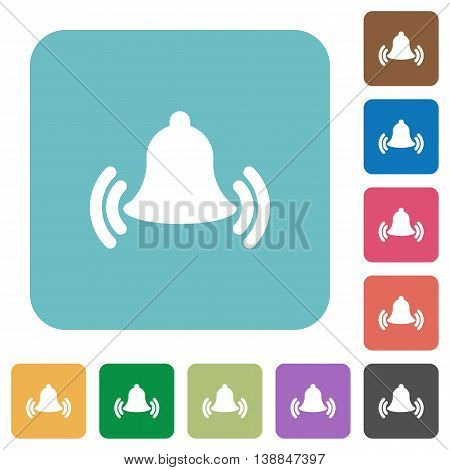 Flat ringing bell icons on rounded square color backgrounds.