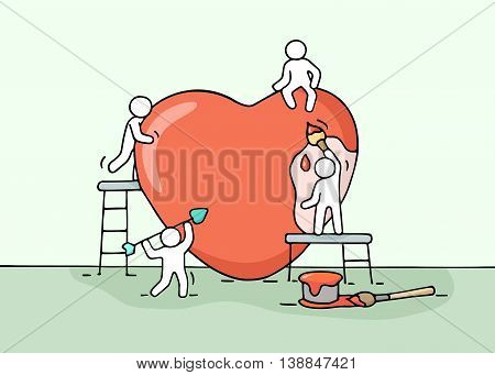 Sketch of working little people with love sign. Doodle cute miniature scene of workers about heart building. Hand drawn cartoon vector illustration.