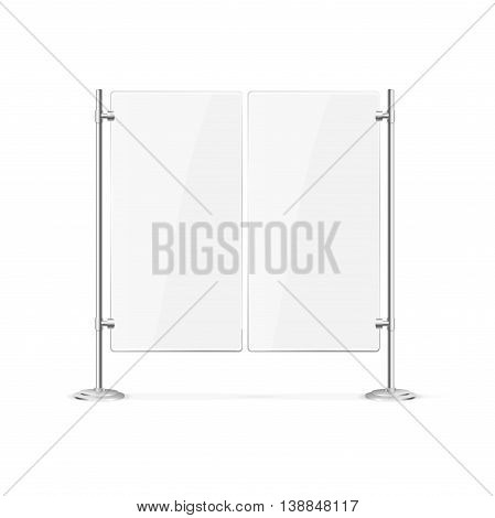 Double Blank Glass Door for Cafe or Restaurant. Vector illustration