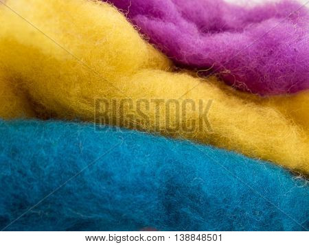 Unusual Background About Handmade With Colorful Wool Stacked Layers.