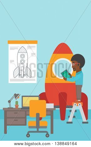 An african-american man standing on ladder and engeneering a rocket. Business start up concept. Vector flat design illustration. Vertical layout.