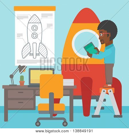 An african-american man standing on ladder and engeneering a rocket. Business start up concept. Vector flat design illustration. Square layout.
