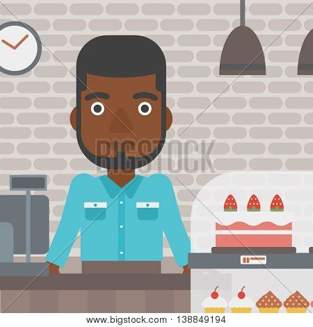 An african-american bakery worker offering different pastry. A bakery worker standing behind the counter with cakes at the bakery. Vector flat design illustration. Square layout.
